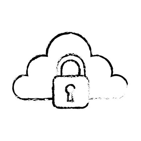 cloud storage technology data browser secure padlock vector illustration sketch design Illustration