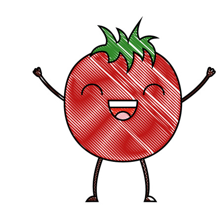 tomato vegetable happy vector illustration drawing color Çizim