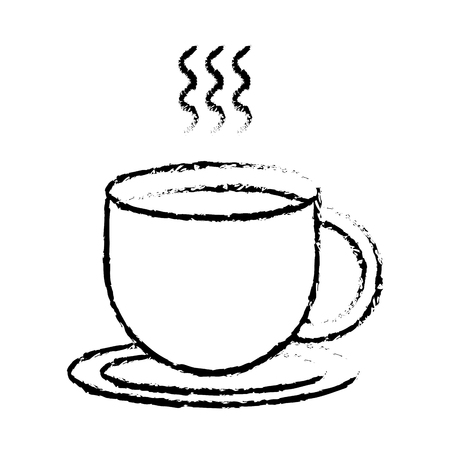 hot coffee cup on dish beverage image vector illustration sketch design  イラスト・ベクター素材