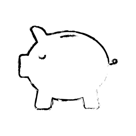 safe money piggy banking image vector illustration sketch design
