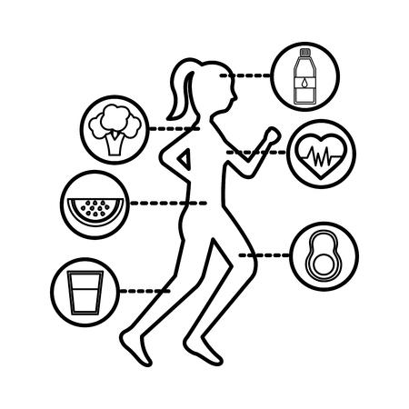runner woman healthy lifestyle fruit vegetable icons vector illustration thin line Ilustração