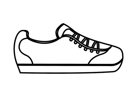 cartoon sneaker sport fashion image vector illustration thin line
