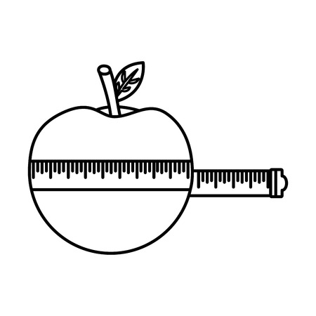 wrapped apple measuring tape weight loss vector illustration thin line Illustration