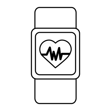 smart watch wearable technology heart rate vector illustration thin line Çizim