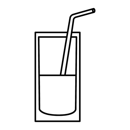 milk glass nutrition beverage image vector illustration thin line