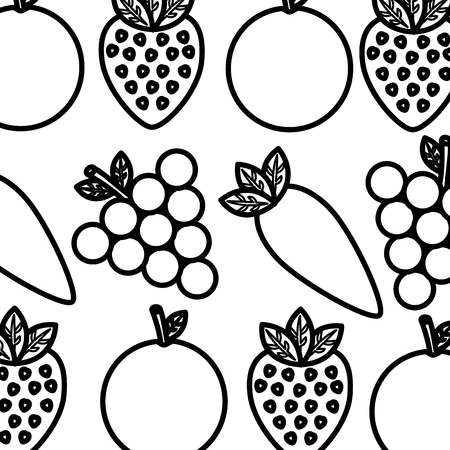vegetable and fruit healthy lifestyle background vector illustration thin line Çizim