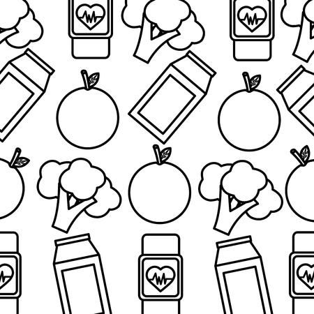 orange broccoli smart watch heart beat healthy lifestyle background vector illustration thin line Illustration