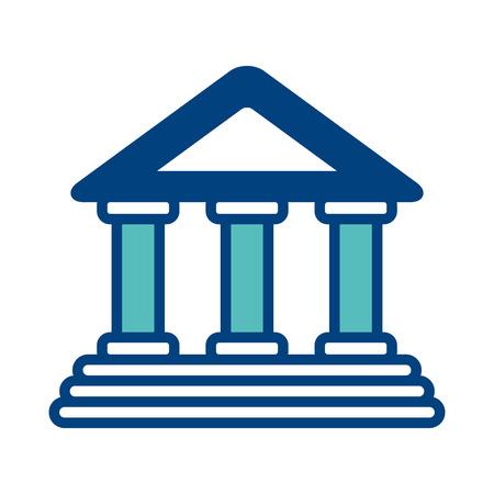 Bâtiment financier de l & # 39 ; entreprise financière symbole illustration vectorielle vert et bleu Banque d'images - 98516339