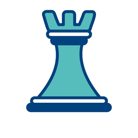 체스 조각 타워 비즈니스 전략 이미지 개념 벡터 일러스트 레이 션 녹색 및 파랑 스톡 콘텐츠 - 98516350