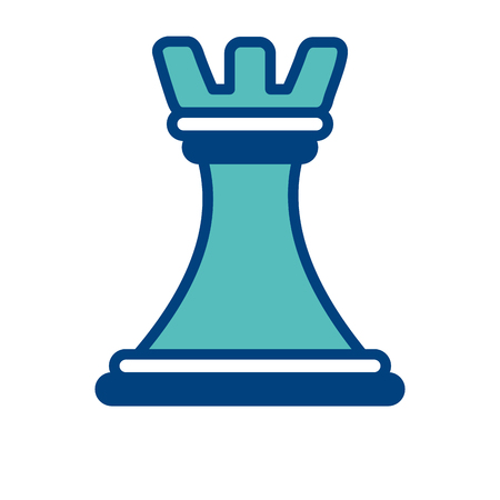 chess piece tower business strategy image concept vector illustration green and blue
