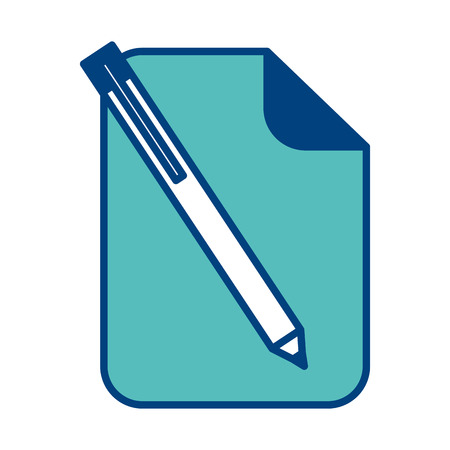 paper document blank with pen utensil vector illustration green and blue