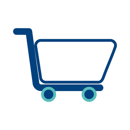 shopping cart ecommerce market store symbol vector illustration green and blue