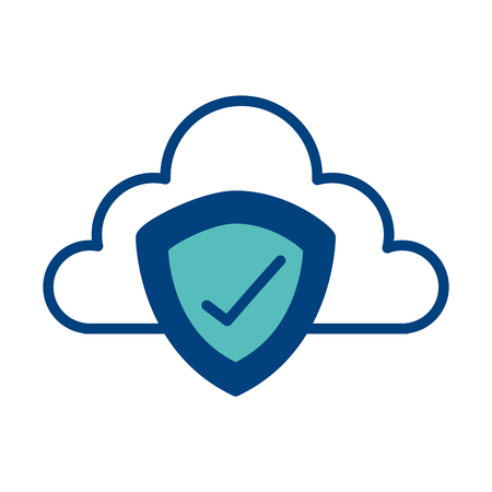 cloud storage data shield protection technology vector illustration green and blue Foto de archivo - 98516412