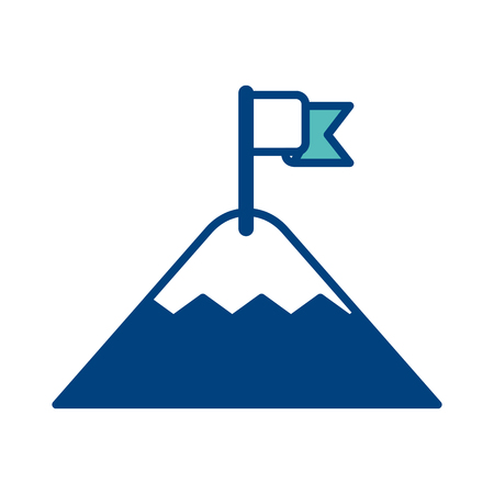 mountain with flag on top success concept vector illustration green and blue