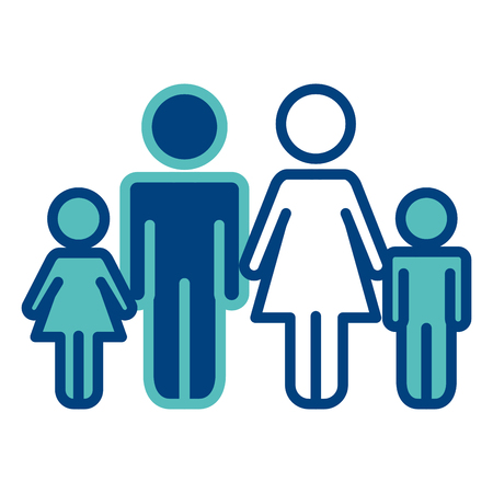 Family parents with children together pictogram vector illustration green and blue.