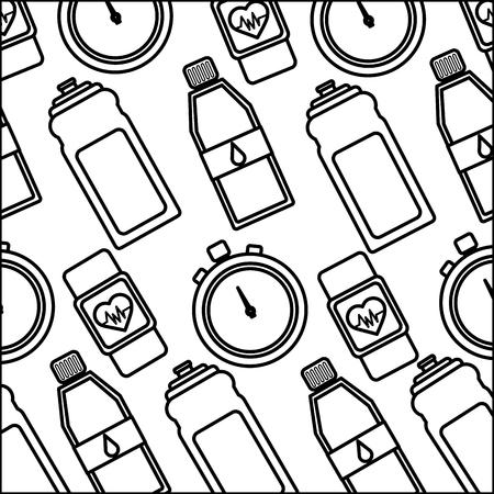 Healthy lifestyle sport gym bottle water smart watch chronometer background vector illustration thin line. Ilustração