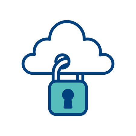 cloud with padlock hanging storage technology security data protection vector illustration green and blue