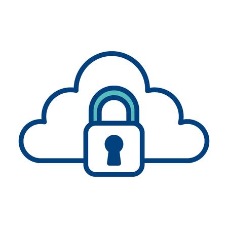 Cloud storage technology data browser secure padlock vector illustration green and blue. Illustration