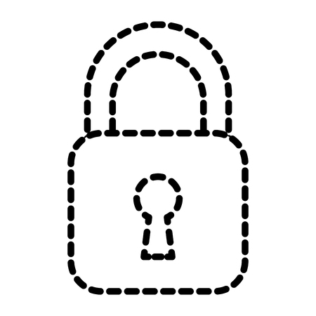 Security padlock business technology protection image vector illustration dotted line Illustration