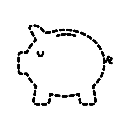 safe money piggy banking image vector illustration dotted line
