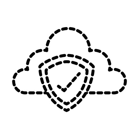 Cloud storage data shield protection technology vector illustration dotted line.