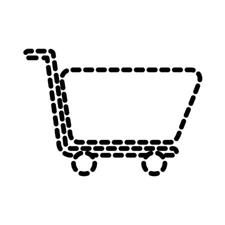 Shopping cart e-commerce market store symbol vector illustration dotted line.