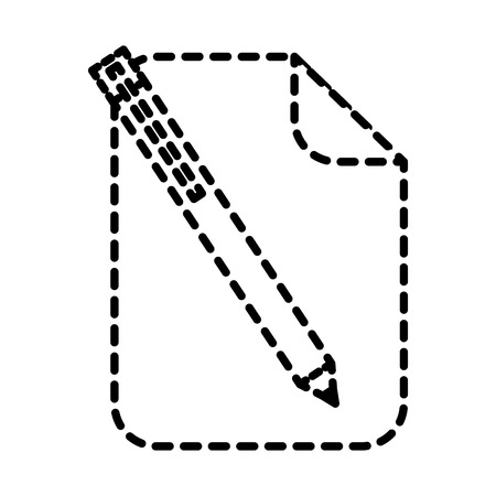 Paper document blank with pen utensil vector illustration dotted line.
