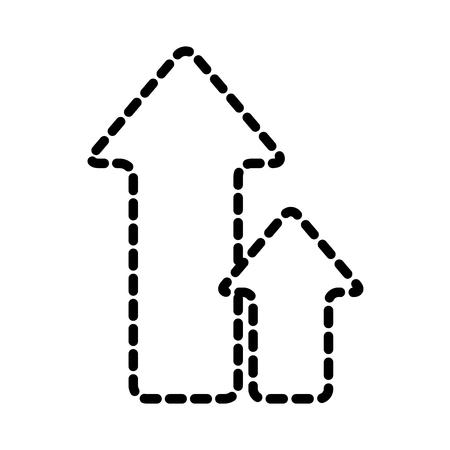 Upload arrows direction upload sign vector illustration dotted line. Illustration