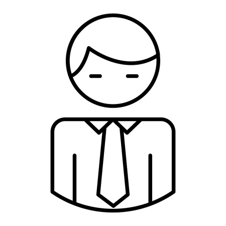 Business man character with necktie pictogram vector illustration outline.