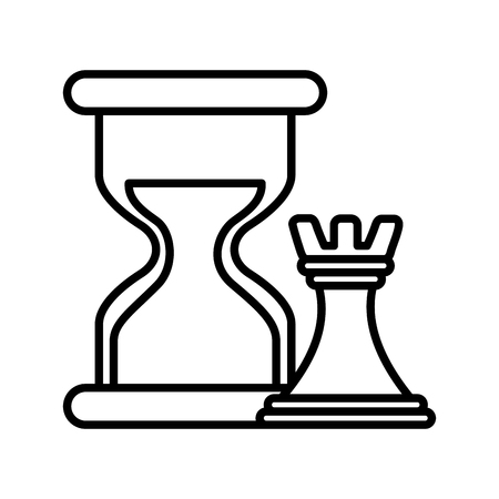 Hourglass and chess tower piece strategy business vector illustration outline.