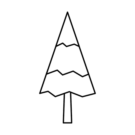 Pine tree natural forest concept vector illustration outline.