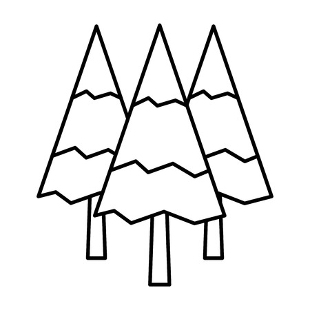 Pine trees forest botanical natural flora vector illustration outline.