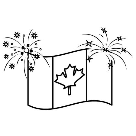 canadian flag maple leaf waving with firewokrs vector illustration outline
