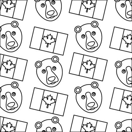 canada flag and grizzly bear design pattern vector illustration outline Ilustração