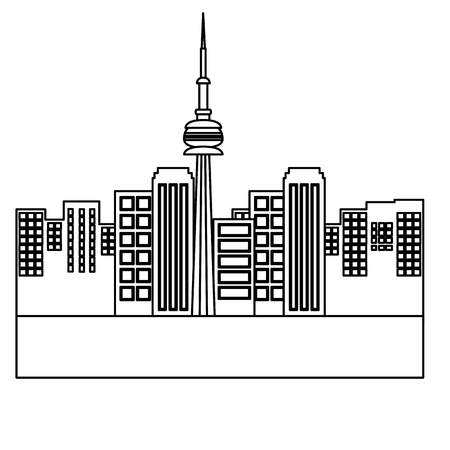 city toronto canada building landmark vector illustration outline