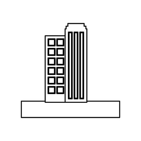 building skyscraper structure apartments image vector illustration outline