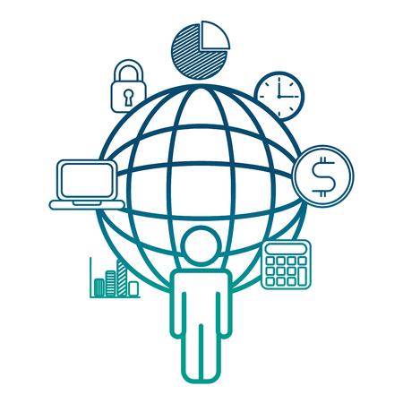 people world connection business financial vector illustration degrade color blue Illustration