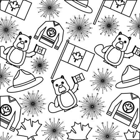 flag jersey beaver and fireworks canadian background vector illustration outline