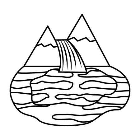 mountains waterfall lake nature landscape vector illustration outline Ilustração