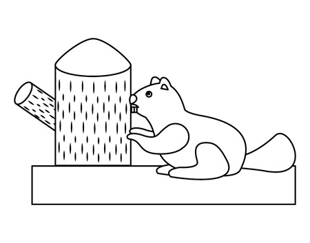 Beaver rodent stump mammal wildlife fauna vector illustration outline.