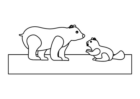 Grizzly bear and beaver wildlife side view vector illustration outline.