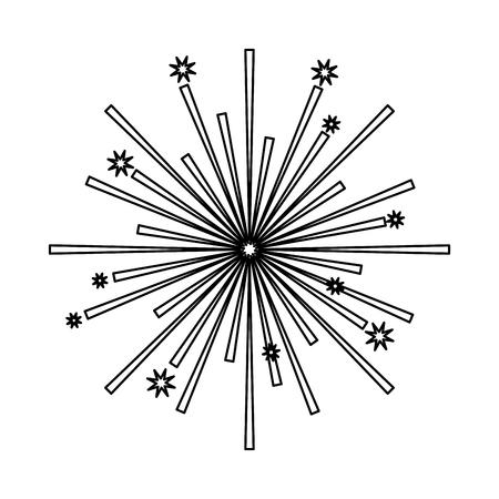 fireworks stars starburst effect image vector illustration outline