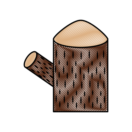 Trunk tree nature forest timber and stump vector illustration drawing color.