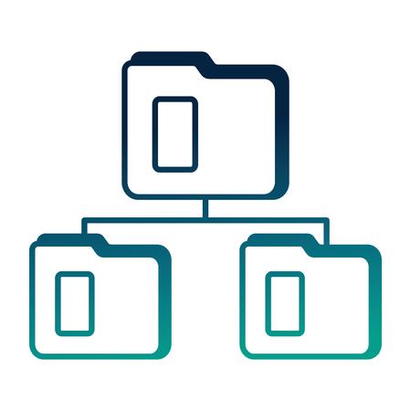 digital connection folder file document data vector illustration degraded color blue Ilustrace