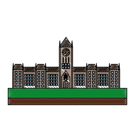 ottawa parliament architecture monument canada vector illustration drawing color  イラスト・ベクター素材