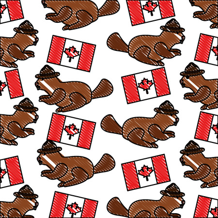 beaver with hat canadian and flag national pattern vector illustration drawing color  イラスト・ベクター素材
