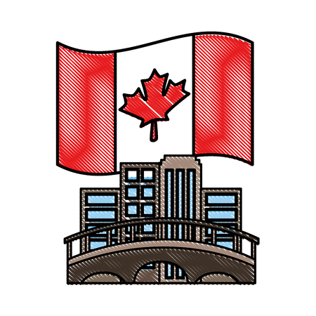 canadian city bridge and flag emblem vector illustration drawing color 스톡 콘텐츠 - 98448579