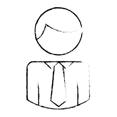 business man character with necktie pictogram vector illustration sketch