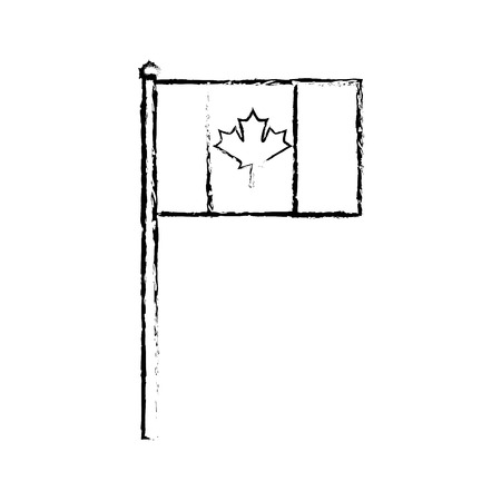 canadian symbol national flag with maple leaf in the pole vector illustration sketch Çizim