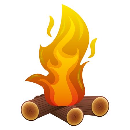 camp bonfire flame burning wooden image vector illustration Illustration